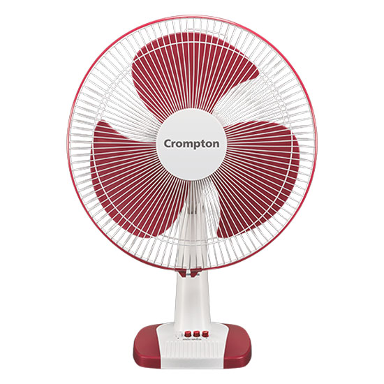 Crompton High Speed 400mm Speed (Rpm 2100) 3 Blade Table Fan, Red White