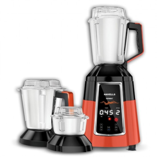 Havells Sonido-I 3 Jar 1200 Watt Mixer Grinder, Orange