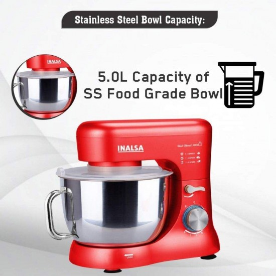 Inalsa Kratos 1000W Stand Mixer with 5L SS Bowl| Whisking Cone, Mixing Beater & Dough Hook, Red