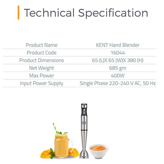 Kent SS-16044 400-W Hand Blender-Silver