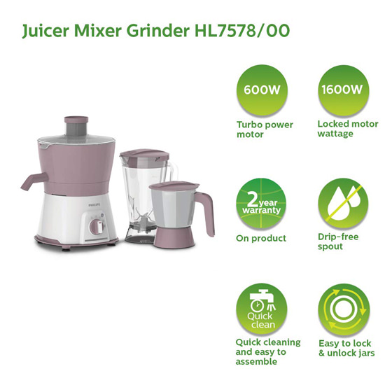 Philips Viva Collection HL7578/00 600 W Juicer Mixer Grinder With 3 Jars, Pink White
