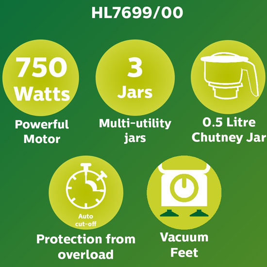 Philips HL 7699/00 750-W 3 Jars Mixer Grinder-White