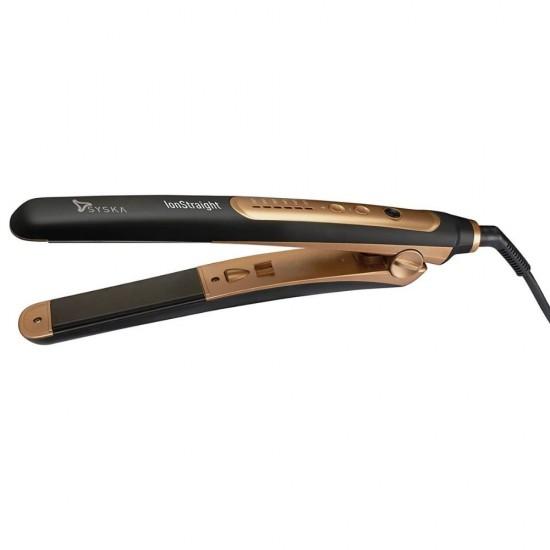 Syska HS2021i Ionic Straight Hair Straightener, Black Gold