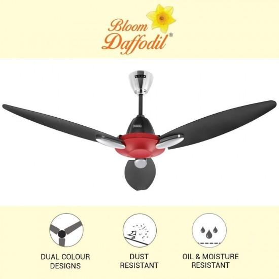 Usha Bloom Daffodil 1250 mm Goodbye Dust 3 Blade Ceiling Fan, Sparkle Red & Black